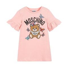 【20春夏新款】MOSCHINO  莫斯奇诺 儿童白色混纺小熊蝴蝶印花连衣裙图片