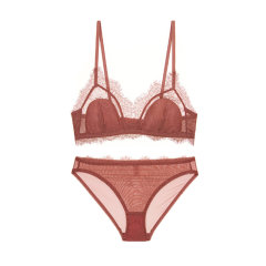 【DesignerWomenwear】Adorre Gaea2020SS法式性感小胸睫毛蕾丝内衣女无钢圈薄棉款文胸套装图片