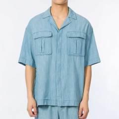 【DesignerMenwear】SEAN BY SEAN/SEAN BY SEAN男士短袖衬衫magmode名堂春夏浅蓝紫色牛仔风短袖衬衫图片
