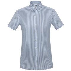 CAMICISSIMA/恺米切蓝色条纹男士短袖衬衫 商务休闲修身衬衣图片