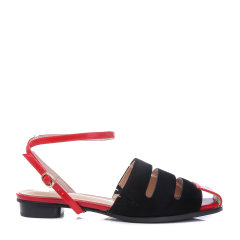 BENATIVE/本那2020年新款女凉鞋平底镂空拼色方头一字带罗马凉鞋图片