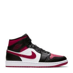 Nike/耐克 Air Jordan 1 Mid 男女同款 AJ1 情侣中帮黑红脚趾 篮球鞋554724-066图片