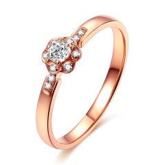 mingzuan/鸣钻国际 原点 红18k金钻戒女 钻石戒指结婚求婚女戒 女款图片