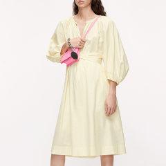 MO&Co./摩安珂女士连衣裙2020夏季新品V领绑带收腰灯笼袖连衣裙MBO2DRS052图片
