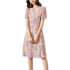 GeleiStory/GeleiStory印花真丝系列连衣裙V领短袖系带收腰单排扣优雅气质真丝女士连衣裙图片