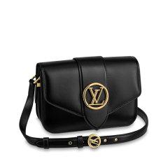 【包邮包税】Louis Vuitton/路易威登 2020夏季新款Pont 9 女士黑色小牛皮翻盖单肩斜挎包 M55948图片