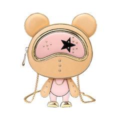 星际熊圆形小包包女可爱小熊造型时尚链条女包单肩斜跨百搭小圆包图片