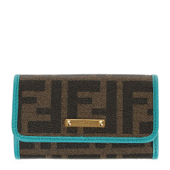 Fendi 芬迪 男士棕色时尚经典logo印花钥匙包卡包钱包图片