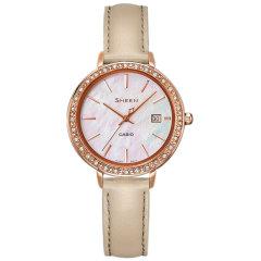 CASIO/卡西欧sheen系列女表镶钻贝母时尚优雅皮带手表图片