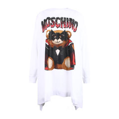 【20春夏新款】MOSCHINO/莫斯奇诺  女士蝙蝠侠泰迪熊不规则下摆圆领长袖连衣裙V0458 0540图片