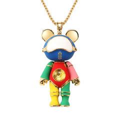 星际熊2020新款毛衣链潮流配饰百搭时尚卫衣链小熊吊坠朋克项链图片