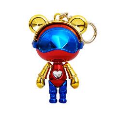 星际熊钥匙扣马卡龙拼色金属电镀施华洛世奇元素水晶挂饰配件公仔图片