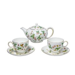 Wedgwood/玮致活 野草莓茶壶骨瓷800ml咖啡壶带盖茶水壶水杯咖啡杯茶杯子一壶双杯碟五件套丝带礼盒套装图片