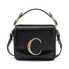 CHLOE/克洛伊女士迷你Chloe C黑色光泽小牛皮拼接麂皮手袋 CHC19US193A37 DX图片