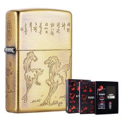 Zippo之宝打火机 旗舰店 中国文化 八骏图 两色可选 礼盒套装 送男友图片
