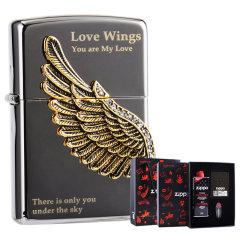 zippo之宝 防风打火机   美国原装进口 爱情之翼礼盒套装 两色可选图片