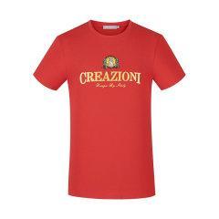 CREAZIONI/克莱切尼 20春夏 服饰 男装简约印花字母刺绣印章男士短袖T恤图片