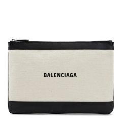 【包邮包税】BALENCIAGA/巴黎世家 20春夏  女士拼色帆布LOGO标识手拿包图片