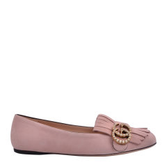 GUCCI/古驰 女士黑色绒面珍珠双G流苏复古平跟鞋单鞋 454299C2000图片