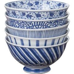 【日本进口】Mino Yaki美浓烧5入套装饭碗日式碗餐具家用米饭碗陶瓷碗小碗吃饭碗釉下彩图片