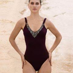 JOG V领细带女士连体泳衣 186图片