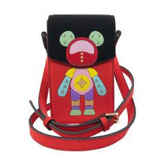 星际熊圆形小包包女可爱小熊造型时尚拼色女包单肩斜跨百搭小方包图片