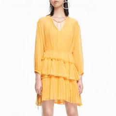 MO&Co./摩安珂女士连衣裙2020夏季新品绑带V领荷叶边真丝连衣裙MBO2DRS035图片
