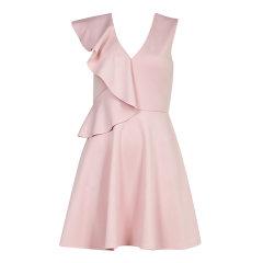Ted Baker/Ted Baker女士连衣裙甜美纯色连衣裙不规则荷叶边简约时尚无袖收腰裙子 155588图片