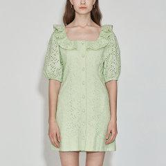 JSNY_ 法式方领高腰显瘦中长连衣裙图片