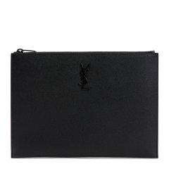 【包邮包税】YSL 圣罗兰 男士monogram黑色牛皮商务休闲手拿包图片