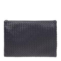 【包税】Bottega Veneta/葆蝶家 中性黑色羊皮编织大号拉链手拿包图片