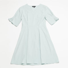 SHOKAY/绣嘉 褶裥袖收腰女士连衣裙图片