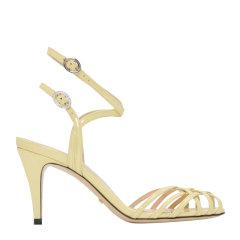 GUCCI/古驰 Draconia 女士漆皮清凉交叉带 高跟鞋细跟 凉鞋8cm 538189图片