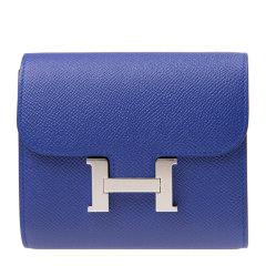 【包邮包税】HERMES/爱马仕 20春夏  Constance系列 女士蓝色牛皮经典银色H扣 卡包钱包图片