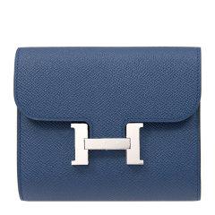 HERMES/爱马仕 20春夏  Constance系列 女士蓝色牛皮经典银色H扣 卡包钱包图片