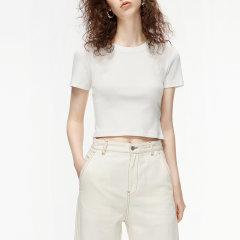 MO&Co./摩安珂女士短袖T恤2020春季新品图案章仔短款针织T恤MBO1TEE012图片