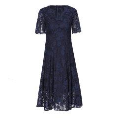 GeleiStory/GeleiStory夏季女士连衣裙 时尚气质名媛小礼服裙纯白V领超仙蕾丝裙图片