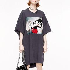 MO&Co./摩安珂女士连衣裙2020秋季新品宽松做旧毛巾绣米奇T恤连衣裙MBO3DRS037图片