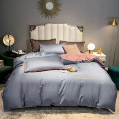 纯色刺绣工艺全棉四件套 床单被套床上用品1.5/1.8米床 ROYALROSE LITERIE图片