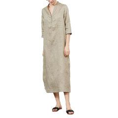 GeleiStory/GeleiStory亚麻女士连衣裙女神范简约刺绣a字裙中腰显瘦中长裙女夏图片