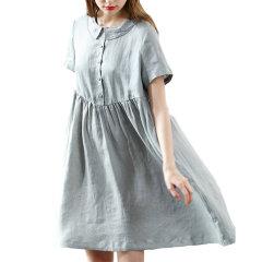 GeleiStory/GeleiStory亚麻短袖娃娃领中长款宽松棉麻料衬衫裙文艺范刺绣女士连衣裙图片