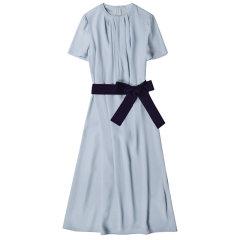 GeleiStory/GeleiStory夏季名媛撞色腰带大码女士连衣裙 英式气质重磅醋酸缎中长裙图片