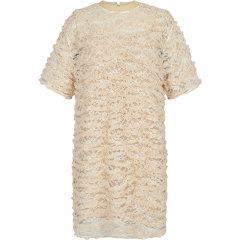 DAZZLE/DAZZLE地素2020秋新款抽褶细节宽松直筒蕾丝t恤女士连衣裙2C3O4017G图片