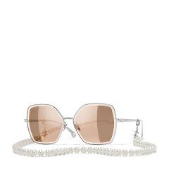 【预售】CHANEL/香奈儿 太阳镜女款 Chanel大框复古墨镜 奢华珍珠链条款 型号CH4262图片