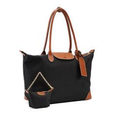 Emini House/伊米妮2020包包女包新款2019时尚尼龙牛皮购物袋撞色大容量子母托特包图片