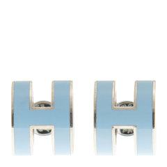 【包邮包税】HERMES 爱马仕 耳环 H 3P 浅蓝色 圆型 金属 银扣 女士耳环图片