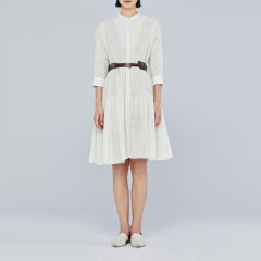 EXCEPTION/例外中长款匹绣衬衫连衣裙-女士连衣裙图片