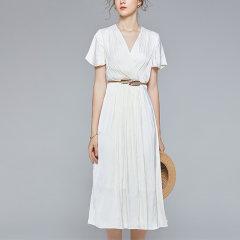 【DesignerWomenwear】Fate Flight/Fate Flight 女士连衣裙2020SS优雅女神范中长款V领喇叭袖收褶大摆裙图片