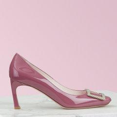 2020秋冬新品RogerVivier/罗杰·维维亚女士方扣高跟鞋BelleVivierTrompette喇叭跟漆皮单鞋图片
