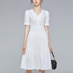 【DesignerWomenwear】Fate Flight/Fate Flight女士连衣裙2020SS清新中长款V领松紧腰温柔法式小白裙赫本风图片